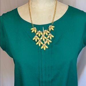 JCP yellow and gold statement necklace